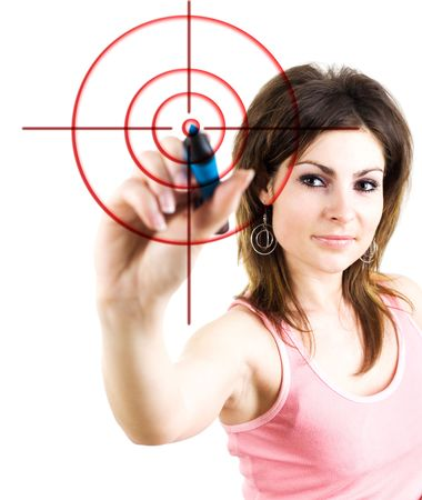 An image of girl drawing the target