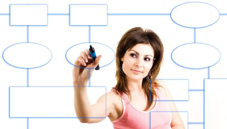 An image of a businesswoman drawing a scheme photo