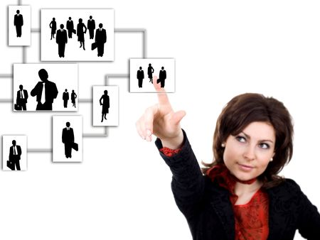 An image of woman with silhouettes of people
