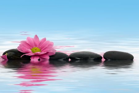 clearness: A row of black stones for SPA Stock Photo
