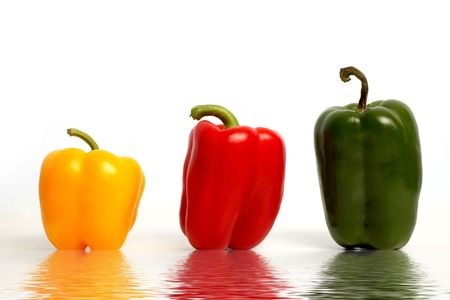 variance: An image of color peppers in row Stock Photo