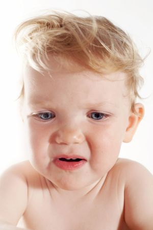 tahriş: An image of emotion of baby-girl. Irritation Stok Fotoğraf