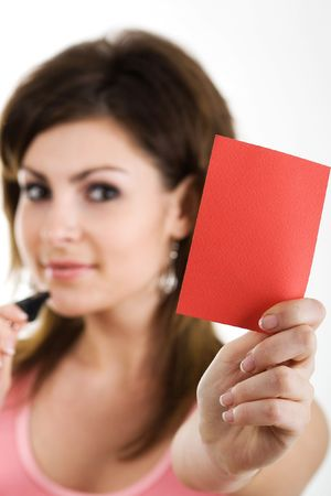 An image of a nice referee showing red card photo
