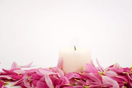clearness: An image of pink petals and candle