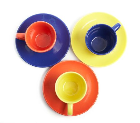 variance: An image of color cups and saucers Stock Photo