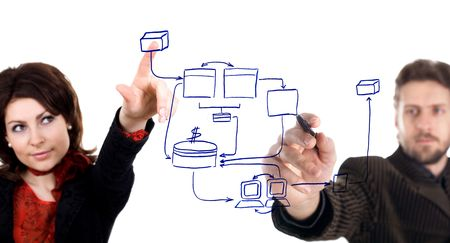 pact: An image of man and woman drawing a business plan