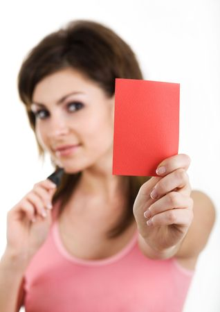 An image of a nice woman showing red card photo
