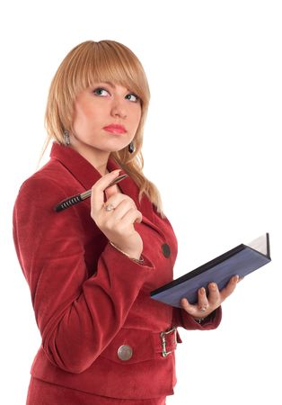 An image of businesswoman in red suit with pen photo
