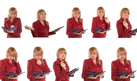 An image of girl in red suit. Variations. photo