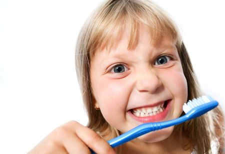 An image of little girl with toothbrush on white background