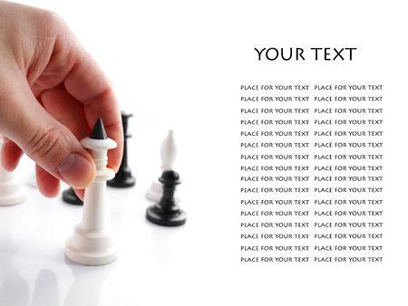 business rival: Una imagen de la mano con el ajedrez con el �rea de texto Foto de archivo