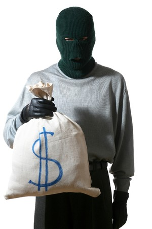An image of a man in mask with  bag Stock Photo - 3985587