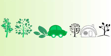 Stock photo: an image of a green car, trees and a house Vector
