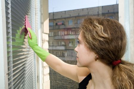 An image of a woman in green gloves washing the blinds