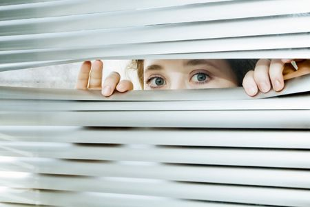 jalousie: An image of a portrait of a woman looking throughout the blinds