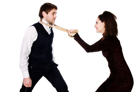 insidious: An insidious woman pulling to herself a resisting poor fellow  with a rope on his neck Stock Photo