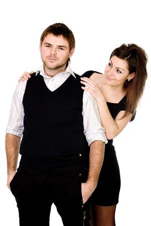 dudando: A vacilar hombre y una mujer mirando la cara de su espalda