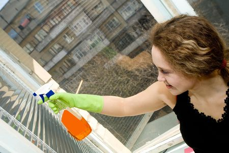 A picture  of a  young  pretty  woman in  green gloves doing her housework - cleaning a window with a spray Stock Photo - 4784709
