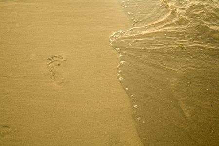 footmark: An image of a footmark on the beach Stock Photo