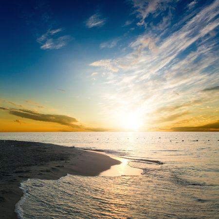 An image of beautiful sunrise over the sea
