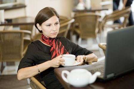 An image of a nice woman in a cafe Stock Photo - 5411376