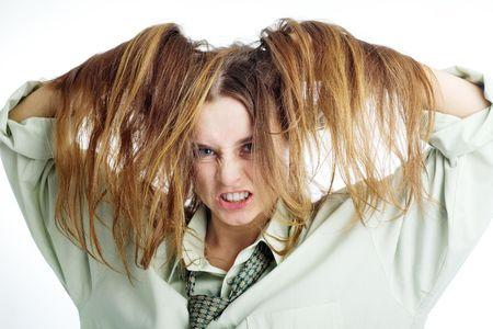 disheveled: An image of a portrait of a girl with disheveled hair Stock Photo