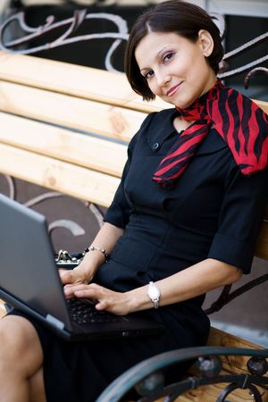 An image of a nice woman with a laptop Stock Photo - 5457132
