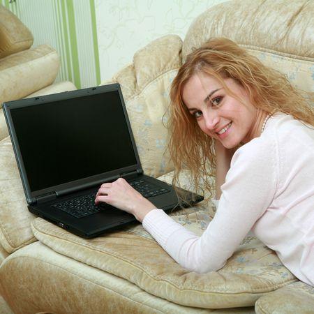 An image of a girl working with laptop Stock Photo - 6243628