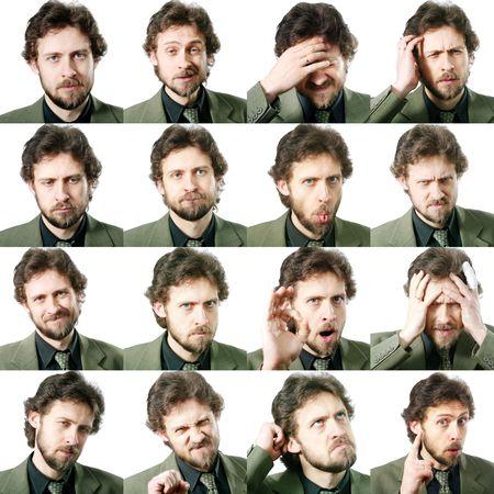 gestos de la cara: Una imagen de un conjunto de expresiones faciales Foto de archivo