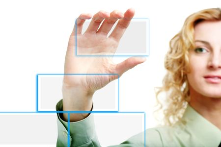 projection screen: An image of a hand holding clear card Stock Photo