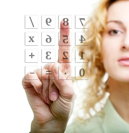 An image of a woman calculating Stock Photo - 6585684