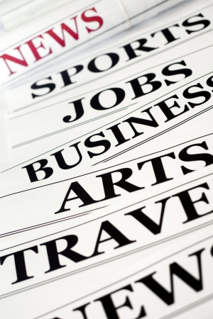 An image of headlines in the newspaper Stock Photo