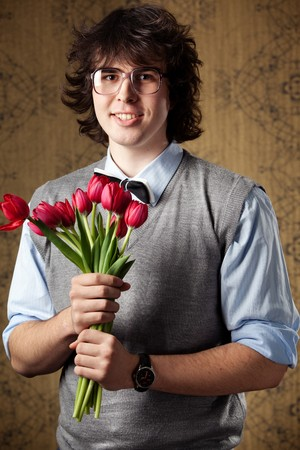 An image of a man in big glasses with red flowers Stock Photo - 8271467