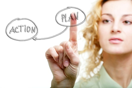 An image of a woman pressing button ''plan'' Stock Photo - 8564819
