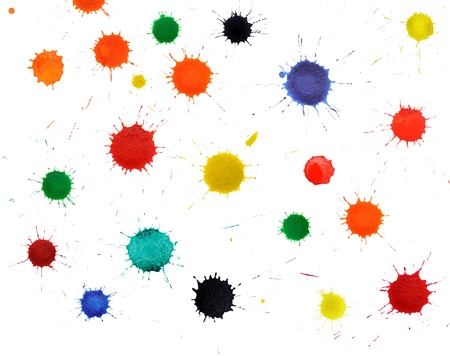 spatters: An image of various splashes on white background Stock Photo
