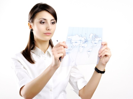 A girl with a map of the world printed on a transparent material Stock Photo - 8761785