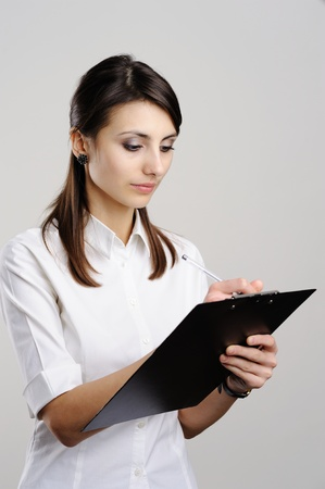 screenwriter: An image of nice woman with notepad Stock Photo