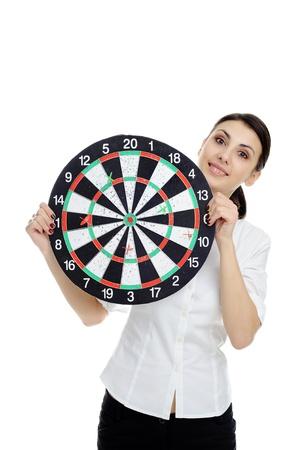 Een afbeelding van jonge meisje houden dartbord Stockfoto - 8904106