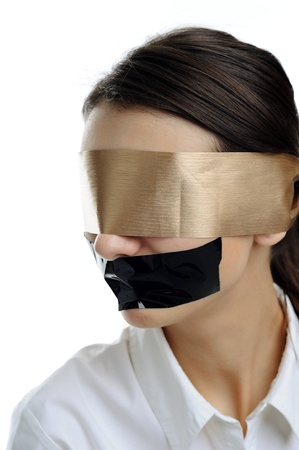 An image of woman in white with a blindfold photo