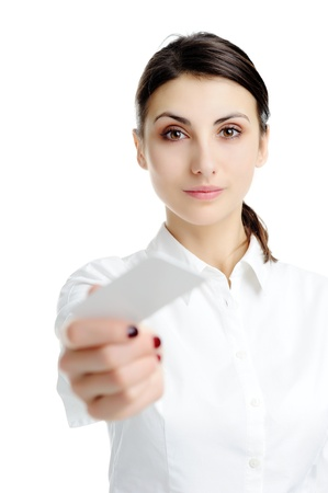 Young businesswoman holding blank businesscard in hand photo