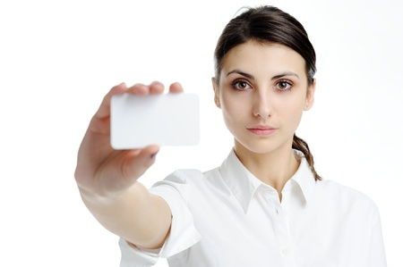 An image of young woman holding blank businesscard in hand photo