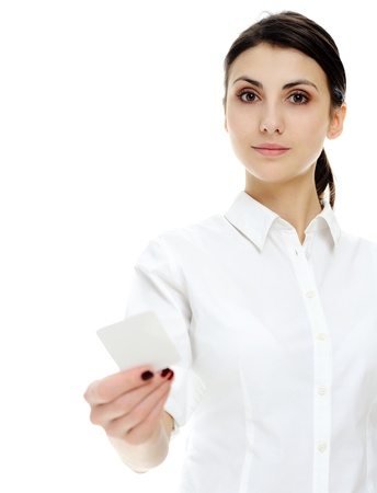 An image of young businesswoman holding blank businesscard in hand photo