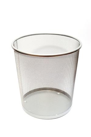 Silver mesh trash basket empty on white background Stock Photo - 8983338