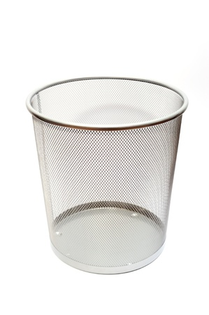 meaningless: Silver mesh trash basket empty on white background