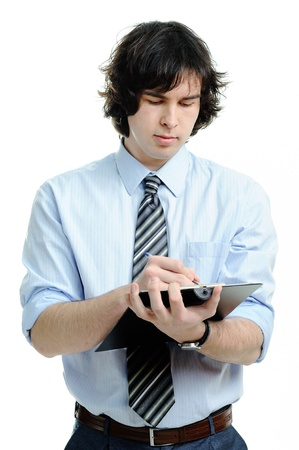 shorthand: An image of young man with notepad