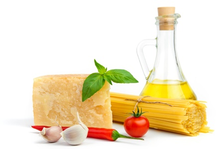 Close up of basic ingredients for italian pasta photo