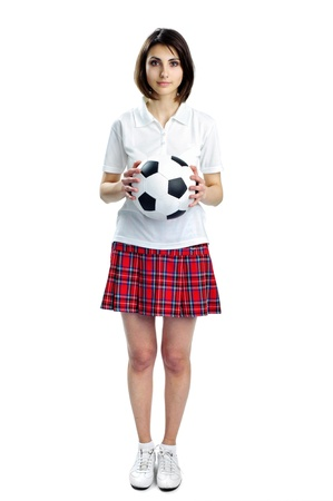 costume ball: An image of of nice woman with soccer ball Stock Photo