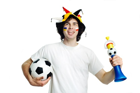 An image of football fan with ball and trumpet photo