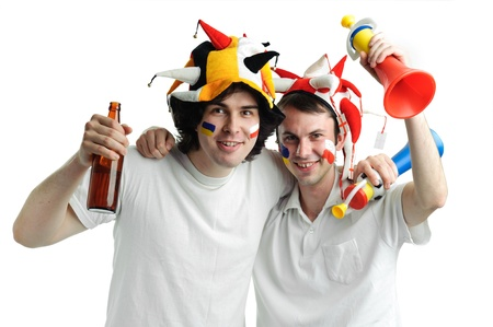 An image of two football fans with a bottle of beer photo