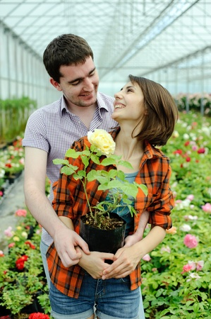 An image of a young couple with a flower pot Stock Photo - 10814356